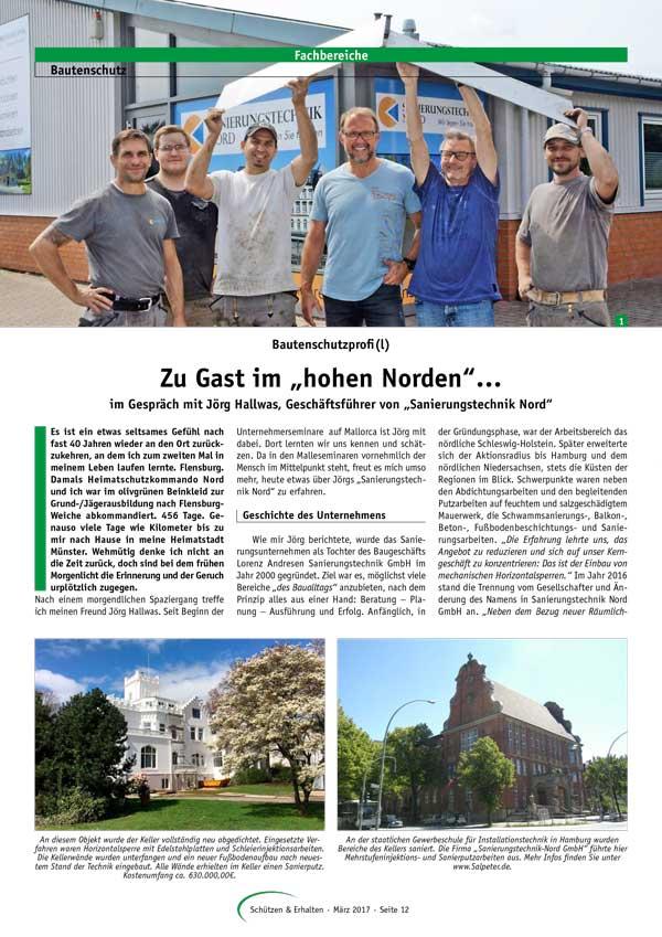 """Sanierungstechnik Nord in der aktuellen Ausgabe der Zeitschrift """"Schützen & Erhalten"""""""